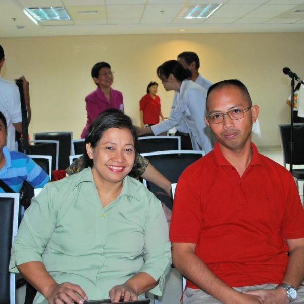 Dr. Maria Ella Cabanlet, L (Leukemia Patient) with husband Maj. Stephen Cabanlet.  Mr. Rene Macalalad is at the background