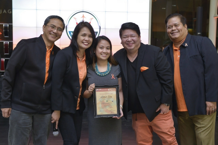 EPCALM Board (L-R): Justice Demerre, Erlyn Demerre, Sunny Ku and Mitch Duran, with Jaguar's Jonas Mariano at the center