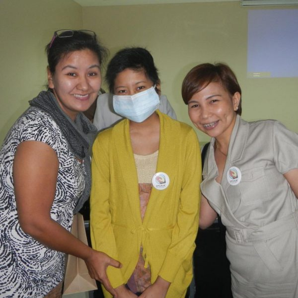 Dr. Sarah Moral, R (Leukemia Patient) with Ms. Rovil Villas, M (Leukemia Patient); and Ms. Mercy Villas (Mother of Rovil)